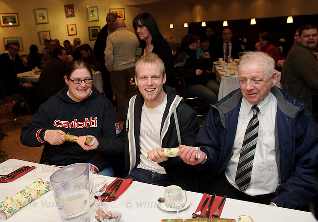 Rangers and Scotland star Steven Naismith sponsors a christmas lunch for Glasgow's homeless in conjunction with the Loaves and Fishes charity. Steven Naismith with Marie Pearson and Peter Daly at Renfield St Stephen's Church