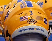 Throwback Pitt football helmet. The Pitt Panthers defeated the Virginia Tech Hokies 52-22 on November 10, 2018 at Heinz Field in Pittsburgh, Pennsylvania.