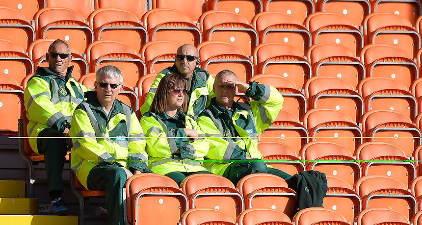 St John's Ambulance staff watch the game<br /> <br /> Photographer Dave Howarth/CameraSport<br /> <br /> Football - The Football League Sky Bet League One - Blackpool v Barnsley - Saturday 19th September 2015 - Bloomfield Road - Blackpool<br /> <br /> &copy; CameraSport - 43 Linden Ave. Countesthorpe. Leicester. England. LE8 5PG - Tel: +44 (0) 116 277 4147 - admin@camerasport.com - www.camerasport.com