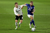 10th July 2020; Craven Cottage, London, England; English Championship Football, Fulham versus Cardiff City; Stefan Johansen of Fulham competes for the ball with Joe Ralls of Cardiff City