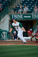 Fort Wayne TinCaps Michael Curry (16) at bat during a Midwest League game against the Peoria Chiefs on July 17, 2019 at Parkview Field in Fort Wayne, Indiana.  Fort Wayne defeated Peoria 6-2.  (Mike Janes/Four Seam Images)