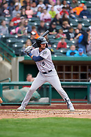 Kane County Cougars Zachery Almond (9) at bat during a Midwest League game against the Fort Wayne TinCaps at Parkview Field on May 1, 2019 in Fort Wayne, Indiana. Fort Wayne defeated Kane County 10-4. (Zachary Lucy/Four Seam Images)