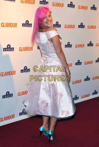 LILY ALLEN.Inside Arrivals at the Glamour Women of the Year Awards 2008 held at Berkeley Square Gardens, London, England,.3rd June 2008.full length dyed pink hair white print dress blue shoes off the shoulder bow hairband blue nail varnish polish satin silk looking back over shoulder.CAP/PL.©Phil Loftus/Capital Pictures