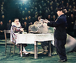 Circus performers Vladimir Durov left and Mikhail Rumyantsev as Karandash Pencil on arena.