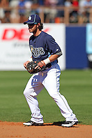 Tampa Bay Rays second baseman Will Rhymes #10 in the field during a spring training game against the Baltimore Orioles at the Charlotte County Sports Park on March 5, 2012 in Port Charlotte, Florida.  (Mike Janes/Four Seam Images)