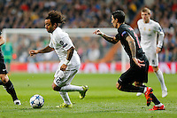 Real Madrid's Brazilian defense Marcelo and Paris Saint Germain´s Angel Di Maria