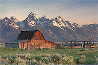 The Grand Tetons are amazing, and especially so with of the iconic Mormon barns in the foreground. This Rocky Mountain image of one of the Mormon barns was taken at sunrise.