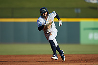 Jack Lopez (1) of the Gwinnett Stripers takes off for third base against the Scranton/Wilkes-Barre RailRiders at Coolray Field on August 17, 2019 in Lawrenceville, Georgia. The Stripers defeated the RailRiders 8-7 in eleven innings. (Brian Westerholt/Four Seam Images)