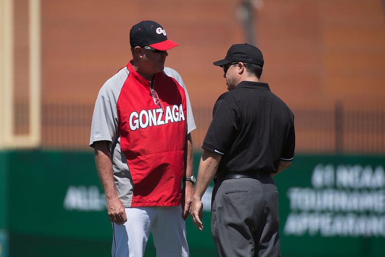 May 23, 2013; Stockton, CA, USA; Gonzaga Bulldogs head coach Mark Machtolf during the WCC Baseball Championship at Banner Island Ballpark.
