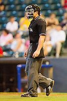 Home plate umpire Joel Hospodka during the Eastern League game between the Harrisburg Senators and the Richmond Flying Squirrels in game two of a double-header at The Diamond on July 22, 2011 in Richmond, Virginia.  The Senators defeated the Flying Squirrels 1-0.   (Brian Westerholt / Four Seam Images)