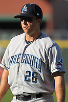 Lake County Captains infielder Jerrud Sabourin #28 prior to the game against the Dayton Dragons at Fifth Third Field on June 25, 2012 in Dayton, Ohio. Lake County defeated Dayton 8-3. (Brace Hemmelgarn/Four Seam Images)