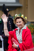 TRONDHEIM, NORWAY - JUNE 23:  Queen Sonja of Norway arrives at the Royal Residence, Stiftsgarden, to attend a Garden Party, on a visit to Trondheim, during the King and Queen of Norway's Silver Jubilee Tour, on June 23, 2016 in Trondheim, Norway.