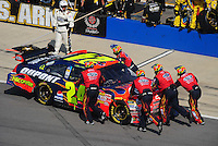 Oct 5, 2008; Talladega, AL, USA; NASCAR Sprint Cup Series driver Jeff Gordon is pushed into the garage after crashing during the Amp Energy 500 at the Talladega Superspeedway. Mandatory Credit: Mark J. Rebilas-