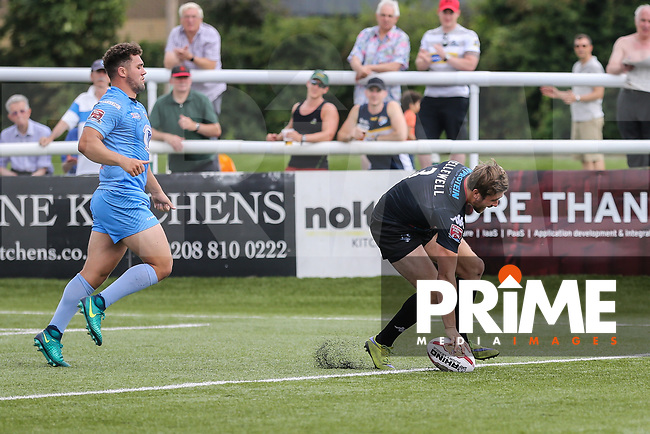 Ben Hellewell of London Broncos scores his 3rd (hat trick) try of the game during the Kingstone Press Championship match between London Broncos and Sheffield Eagles at Castle Bar , West Ealing , England  on 9 July 2017. Photo by David Horn.