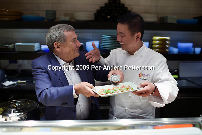 CAPE TOWN, SOUTH AFRICA – APRIL 1: Sol Kerzner, the South African hotel magnate, poses for pictures with chef Nobu Matsuhisa at his newly opened restaurant at the One&Only resort on April 1, 2009 in Cape Town, South Africa. Mr. Kerzner's latest hotel is located at the W&A Waterfront in the city. He invited hundreds of friends to the opening party. (Photo by Per-Anders Pettersson)