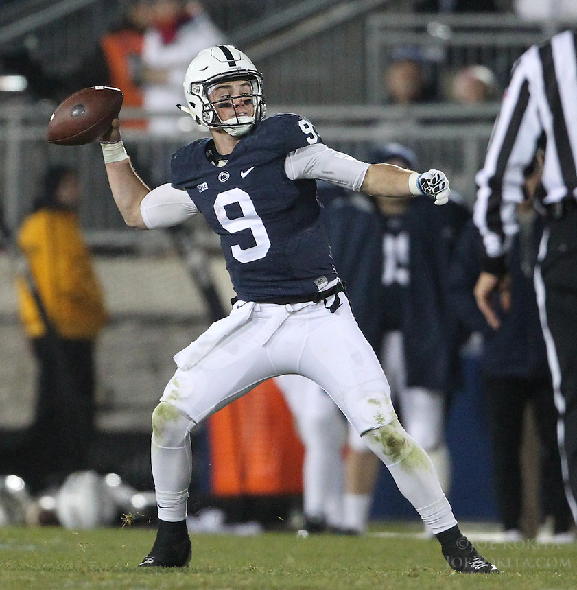 State College, PA - 11/26/2016:  Penn State QB Trace McSorley throws a touchdown pass. #7 Penn State defeated Michigan State by a score of 45-12 to secure the Big Ten conference East Division championship on Senior Day, Saturday, November 26, 2016, at Beaver Stadium in State College, PA.<br /> <br /> Photos by Joe Rokita / JoeRokita.com