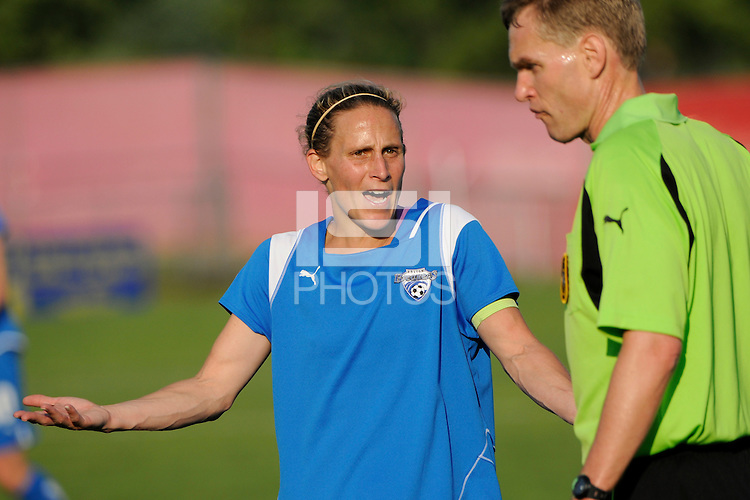 Kristine Lilly (13) of the Boston Breakers talks with the referee. Sky Blue FC defeated the Boston Breakers 2-1 during a Women's Professional Soccer match at Yurcak Field in Piscataway, NJ, on May 31, 2009.