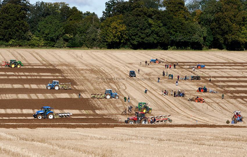 Photo: Richard Lane/Richard Lane Photography. Basingstoke & District Agricultural Society ploughing match takes place at Tile Barn Farm, near Upton Grey, Hampshire. 06/10/2012.