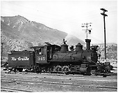 D&amp;RGW #345 at Durango, Colorado. Renumbered from D&amp;RGW #401.<br /> D&amp;RGW  Durango, CO  4/5/1950
