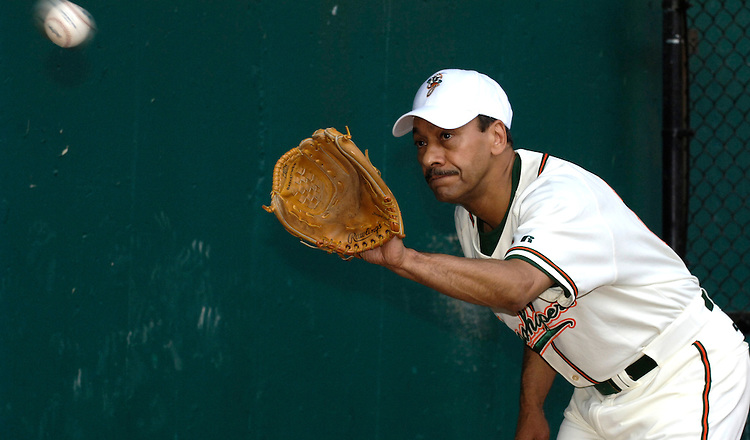 Mel Watt during the per-game warmup at the Congressional Baseball Game at RFK in Washington D.C.
