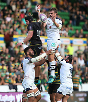 Clermont Auvergne's Flip van der Merwe wins a line-out ball against Northampton Saints's Alex Moon<br /> <br /> Photographer Stephen White/CameraSport<br /> <br /> European Rugby Challenge Cup - Northampton Saints v Clermont Auvergne - Saturday 13th October 2018 - Franklin's Gardens - Northampton<br /> <br /> World Copyright © 2018 CameraSport. All rights reserved. 43 Linden Ave. Countesthorpe. Leicester. England. LE8 5PG - Tel: +44 (0) 116 277 4147 - admin@camerasport.com - www.camerasport.comClermont Auvergne's Flip van der Merwe wins a line-out ball against Northampton Saints's Alex Moon<br /> <br /> Photographer Stephen White/CameraSport<br /> <br /> European Rugby Challenge Cup - Northampton Saints v Clermont Auvergne - Saturday 13th October 2018 - Franklin's Gardens - Northampton<br /> <br /> World Copyright © 2018 CameraSport. All rights reserved. 43 Linden Ave. Countesthorpe. Leicester. England. LE8 5PG - Tel: +44 (0) 116 277 4147 - admin@camerasport.com - www.camerasport.com