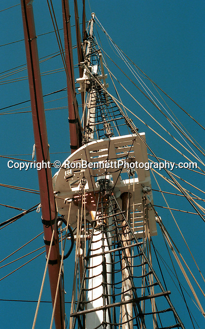 Tall ship rigging on mast and crows nest California, mast, rigging, tall ship, crows nest California, West Coast of US, Golden State, 31st State, California, CA, Fine Art Photography by Ron Bennett, Fine Art, Fine Art photography, Art Photography, Copyright RonBennettPhotography.com ©