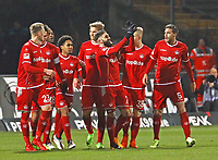celebrate the goal, Torjubel zum 0:1 von Brandon Borello (1. FC Kaiserslautern) - 21.02.2018: SV Darmstadt 98 vs. 1. FC Kaiserslautern, Stadion am Boellenfalltor, 2. Bundesliga