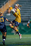 1 September 2019: Merrimack College Warrior Goalkeeper Erin Fulton, a Senior from Farmington, CT, makes a save in the first half against the University of Vermont Catamounts in Game 3 of the TD Bank Women's Soccer Classic at Virtue Field in Burlington, Vermont. The Lady Warriors rallied in the second half to defeat the Catamounts 2-1. Mandatory Credit: Ed Wolfstein Photo *** RAW (NEF) Image File Available ***