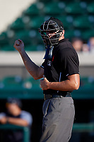Umpire Travis Carlson during a Florida State League game between the Dunedin Blue Jays and Lakeland Flying Tigers on May 18, 2019 at Publix Field at Joker Marchant Stadium in Lakeland, Florida.  Dunedin defeated Lakeland 3-2 in eleven innings.  (Mike Janes/Four Seam Images)