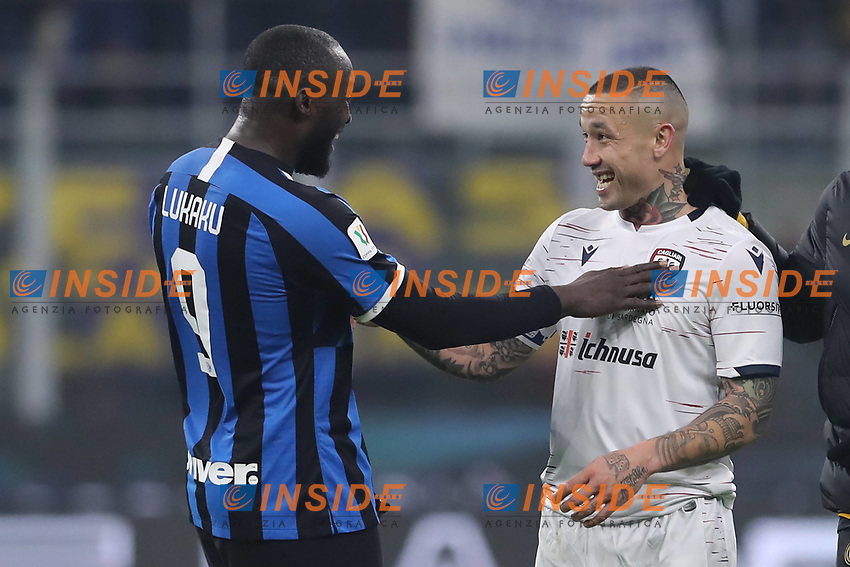 Romelu Lukaku of Inter jokes with fellow Belgian International team mate Radja Nainggolan of Cagliari after the final whistle of the Coppa Italia match at Giuseppe Meazza, Milan. Picture date: 14th January 2020. Picture credit should read: Jonathan Moscrop/Sportimage PUBLICATIONxNOTxINxUK SPI-0435-0048<br /> Internazionale - Cagliari Coppa Italia <br /> Photo Jonathan Moscrop / Sportimage / Imago / Insidefoto
