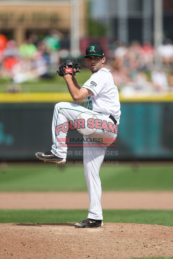 Dayton Dragons relief pitcher Aaron Fossas (18) in action against the West Michigan Whitecaps at Fifth Third Field on May 29, 2017 in Dayton, Ohio.  The Dragons defeated the Whitecaps 4-2.  (Brian Westerholt/Four Seam Images)