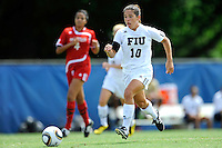 26 September 2010:  FIU's Kassandra Sorzano (10) breaks for the goal in the first half as the FIU Golden Panthers defeated the Arkansas State Red Wolves, 1-0 in double overtime, at University Park Stadium in Miami, Florida.