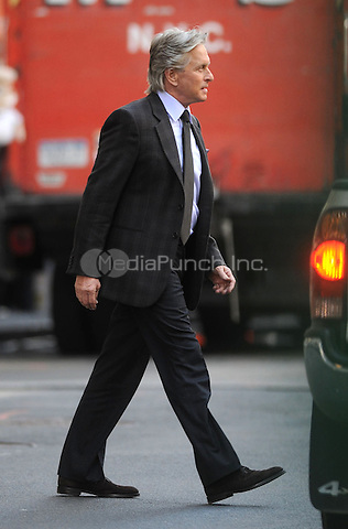 Michael Douglas on the set of Wall Street 2 in New York City. October 8, 2009. Credit: Dennis Van Tine/MediaPunch