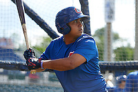 Chattanooga Lookouts Jairo Rodriguez (23) in the batting cage during practice before a game against the Jacksonville Suns on April 30, 2015 at AT&T Field in Chattanooga, Tennessee.  Jacksonville defeated Chattanooga 6-4.  (Mike Janes/Four Seam Images)
