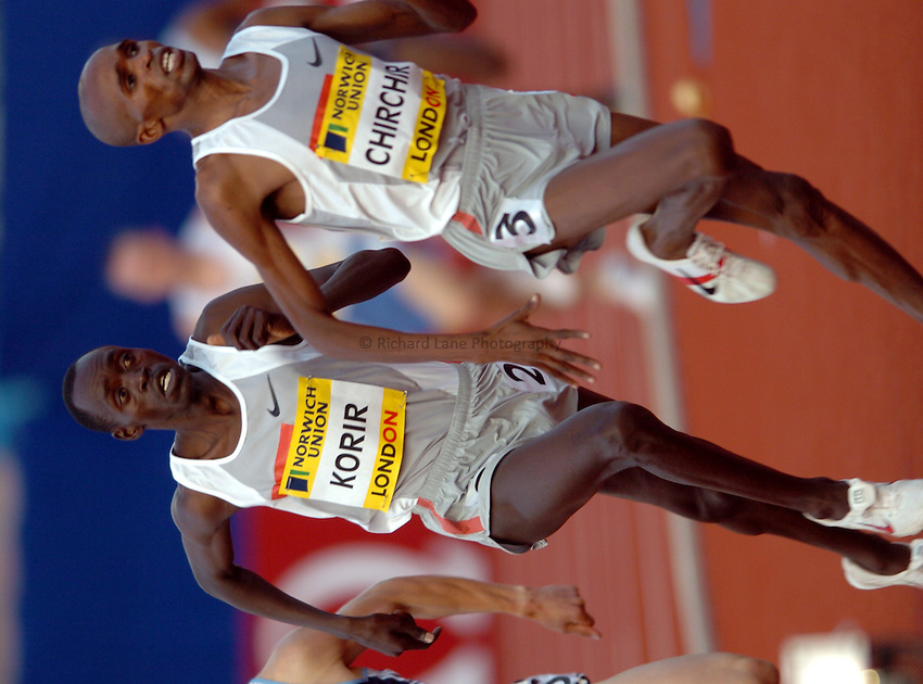 Photo. Henry Browne..Norwich Union London Grand Prix Athletics at Crystal Palace. 30/07/2004..Emsley Carr Mile..Cornelius Chirchir leads Paul Korir.