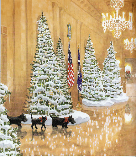"Washington, DC - December 3, 2008 -- Front cover of the program for the 2008 White House Christmas decorations in Washington, D.C. on Wednesday, December 3, 2008.  The cover art was created by Peter Catalanotto, of Doylestown, Pennsylvania, an illustrator and illustrator of many children's books including ""Happy Birthday America""..Credit: Ron Sachs / CNP"