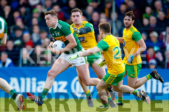 Brendan O'Sullivan Kerry in action against Patrick McBrearty and Darrach O'Connor Donegal in the Allianz Football League Division 1 Round 1 match between Kerry and Donegal at Fitzgerald Stadium in Killarney, Co. Kerry.