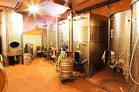 Cave P et Andre Perret in Chavanay, making Condrieu, Saint Joseph, Cote Rotie.  In the winery. Stainless steel fermentation vats.  Andre André P et A Perret, Chavanay, Rhone, France, Europe