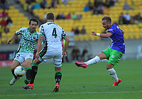 Reno Piscopo shoots for goal during the A-League football match between Wellington Phoenix and Western United FC at Sky Stadium in Wellington, New Zealand on Friday, 21 February 2020. Photo: Dave Lintott / lintottphoto.co.nz