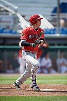 Batavia Muckdogs first baseman Sean Reynolds (25) follows through on a swing during a game against the Auburn Doubledays on June 17, 2018 at Falcon Park in Auburn, New York.  Auburn defeated Batavia 10-6.  (Mike Janes/Four Seam Images)