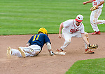 MIDDLETOWN, CT. 06 June 2018-060618BS580 - Ledyard's Kenneth Turner (11) gets back to second ahead of the tag by Wolcott's Ethan Gillotti (24) during the CIAC Tournament Class M Semi-Final baseball game between Ledyard and Wolcott at Palmer Field on Wednesday afternoon. Wolcott beat Ledyard 9-4 and advances to the Class M final this weekend. Bill Shettle Republican-American