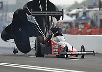 Apr 13, 2019; Baytown, TX, USA; NHRA top fuel driver Shawn Reed during qualifying for the Springnationals at Houston Raceway Park. Mandatory Credit: Mark J. Rebilas-USA TODAY Sports