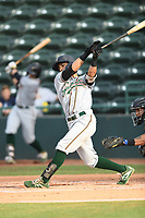 Greensboro Grasshoppers Fabricio Macias (25) bats during a game with the Hickory Crawdads at L.P. Frans Stadium on May 27, 2019 in Hickory, North Carolina.  The Grasshoppers defeated the Crawdads 8-2. (Tracy Proffitt/Four Seam Images)