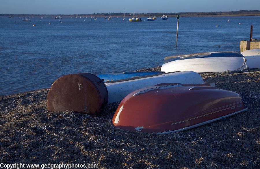 Dinghies at River Deben, Bawdsey Quay, Suffolk, England
