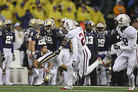 Oct 30, 20010:  Washington special teams player #18 Gregory Ducre races down the field against Stanford.  Stanford defeated Washington 41-0 at Husky Stadium in Seattle, Washington.