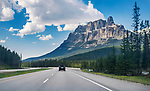 View from a car of Trans-Canada highway going through Alberta's Rockies in Banff Provincial Park. Rocky Mountains, Alberta, Canada.