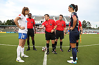 Cary, North Carolina  - Saturday June 17, 2017: Pregame coin flip. From left: Julie King, Justin Howard, Elvis Mahmutovic, Aaron Gallagher, and Abby Erceg prior to a regular season National Women's Soccer League (NWSL) match between the North Carolina Courage and the Boston Breakers at Sahlen's Stadium at WakeMed Soccer Park. The Courage won the game 3-1.