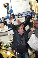 I tifosifesteggiano la vittoria del Napoli contro la Juventus nella finale dlla Supercoppa Italiana <br />  Napoli , 22 Dicembre  2014