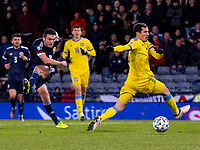 19th November 2019; Hampden Park, Glasgow, Scotland; European Championships 2020 Qualifier, Scotland versus Kazakhstan; John McGinn of Scotland gets shot away  - Editorial Use