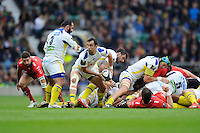 Morgan Parra of ASM Clermont Auvergne passes the ball